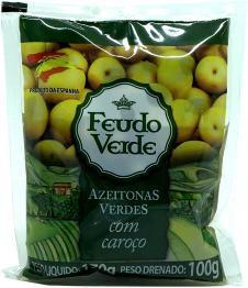 Azeitonas Verdes Feudo com caroço sach 100g