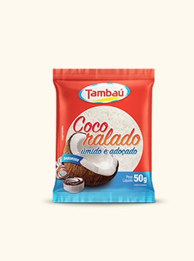 Coco Ralado Úmido e Adoçado Tambaú 50g