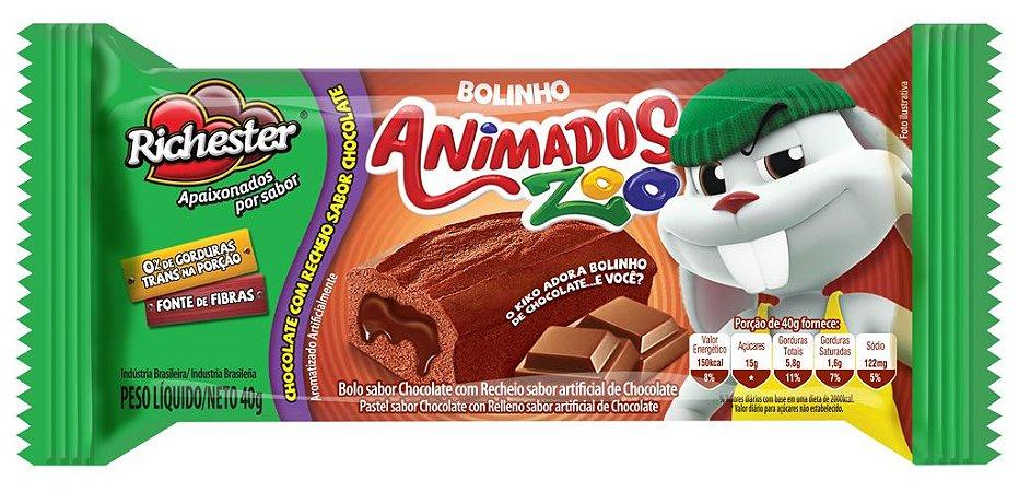 Bolo Richester Animados Zoo Chocolate e Chocolate 40g