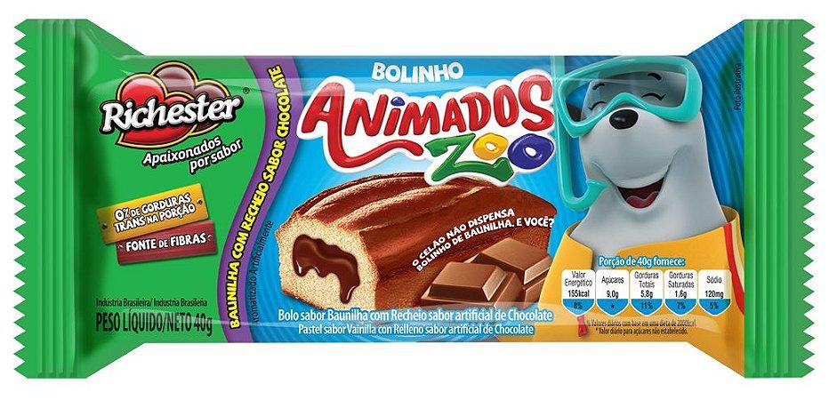 Bolo Richester Animados Zoo Baunilha e Chocolate 40g