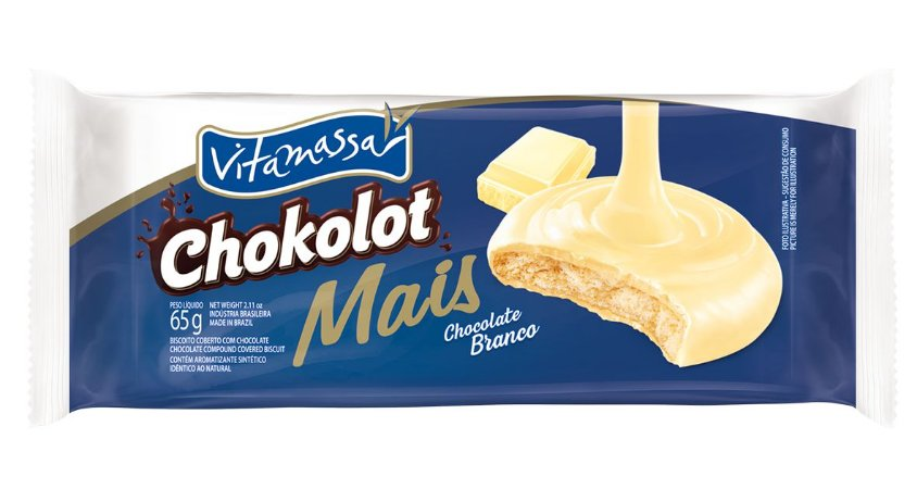 Biscoito Vitamassa Chokolot Mais Chocolate Branco 65g