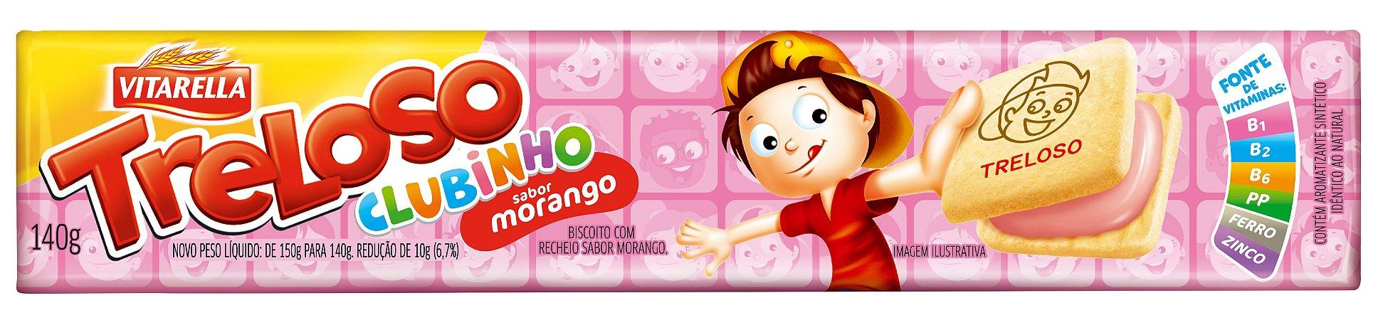 Biscoito Recheado Morango Treloso Clubinho 140g