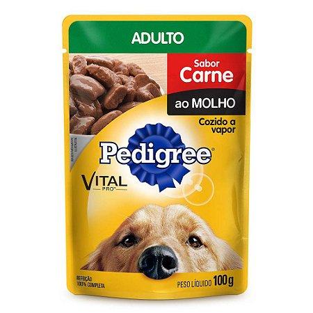Ração Úmida Pedigree Para Cães Adultos Sachê Sabor Carne  100g
