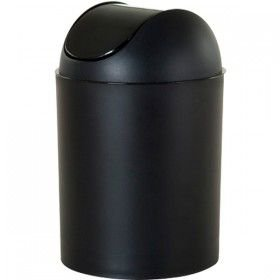 Lixeira Preta Oval Tampa Basculante 45 litros