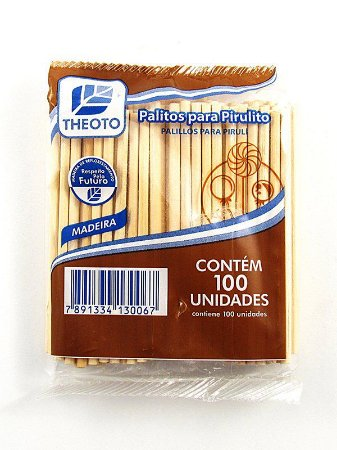 Palito p/ Pirulito Madeira C/100