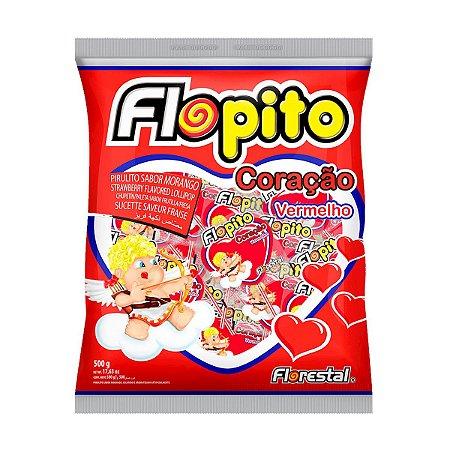 Pirulito Flopito Coração Morango Pct C/50