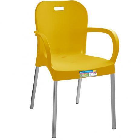 Cadeira Pé Alumínio C/  Braço Cores