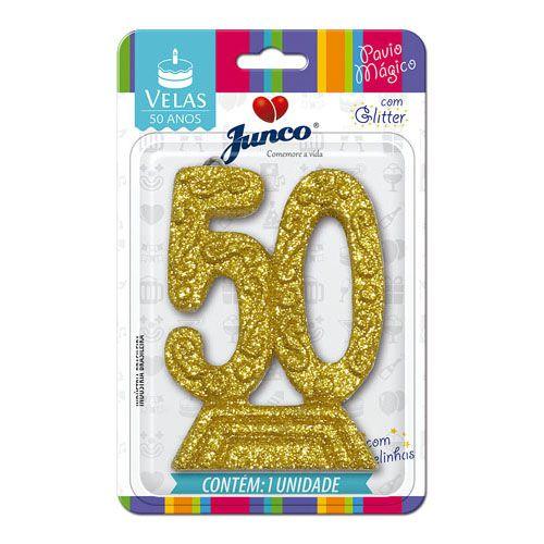 Vela 50 anos Gliter Dourada