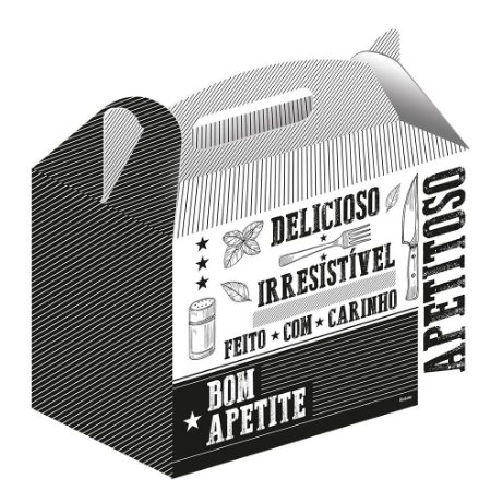 Caixa Kit Lanche Branca e Preto c/50