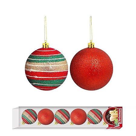 Bola de Natal Vermelha c/ Risco 7cm