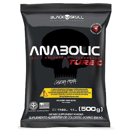 Kit com 2 Anabolic Turbo Colostro Bovino Refil 500g Volume Muscular Black Skull Estimulador Natural da Testosterona