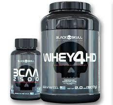 Combo Whey 4HD + BCAA 2500 - Black Skull