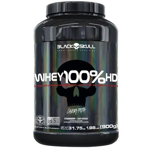 Whey 100% Hd Pote de 900g Black Skull Concentrado, Isolado e Hidrolisado