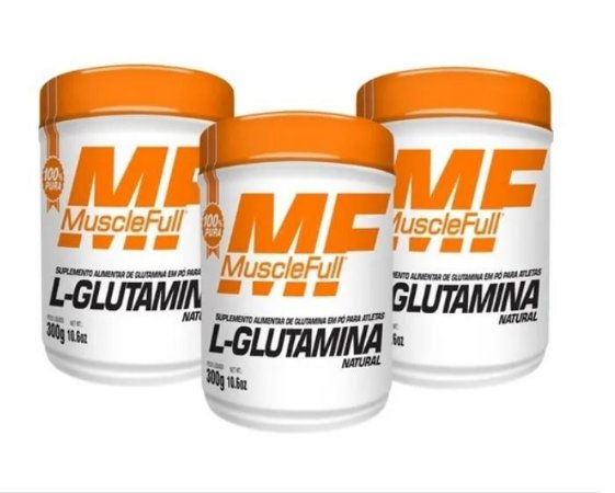 Kit com 3 L- Glutamina 300g - MuscleFull