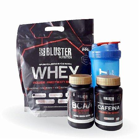 Kit Com Whey Protein, Bcaa, Cafeina E Coqueteleira - Bluster Nutrition