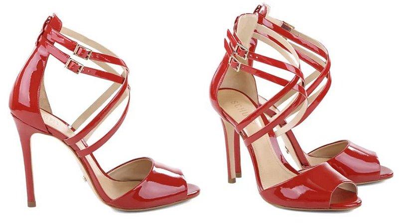 Sandália Vermelha Verniz Schutz