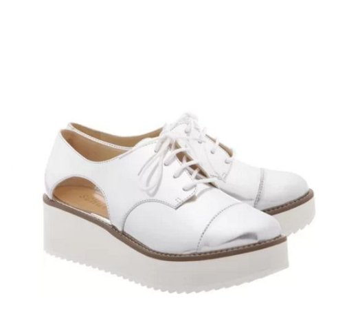 Oxford Flatform Cut Out Prata Schutz