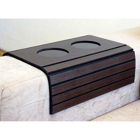 Esteira para sofá com porta copo marron escuro
