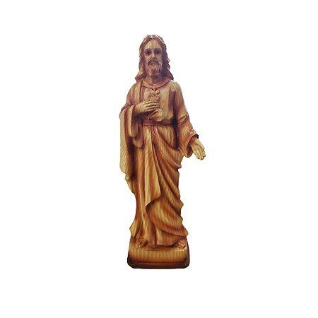 Imagem Sagrado Coração Jesus Resina Madeira Importada 28cm