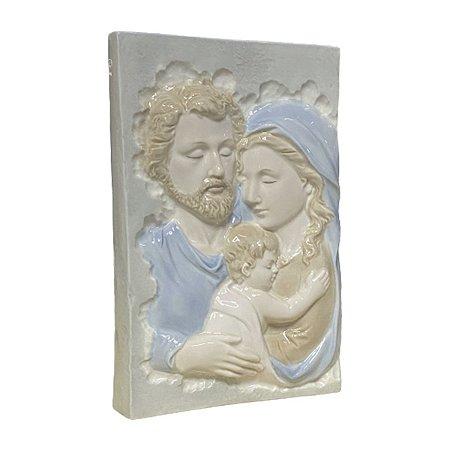 Imagem Sagrada Família Placa Porcelana Importada 27cm x 18cm