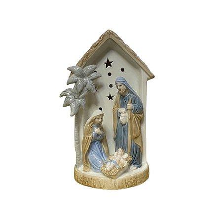 Presépio Luminária Porcelana Sagrada Família Importada 23cm