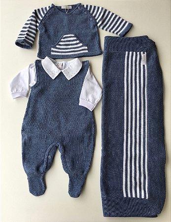 Saída de Maternidade Azul Jeans com Branco