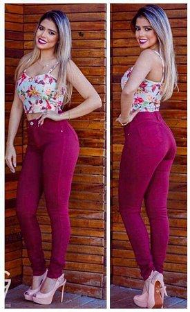 Calça Jeans Cintura Alta Levanta Bumbum Hot Pants Pink