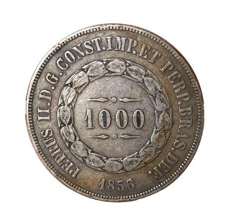 Moeda Antiga do Brasil 1000 Réis 1856 - Anel de Estrelas Solto
