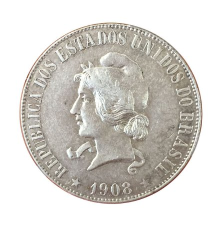 Moeda Antiga do Brasil 2000 Réis 1908