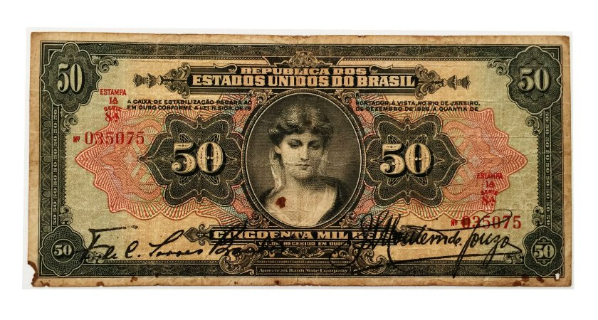 Cédula Antiga do Brasil 50 Mil Réis 1927