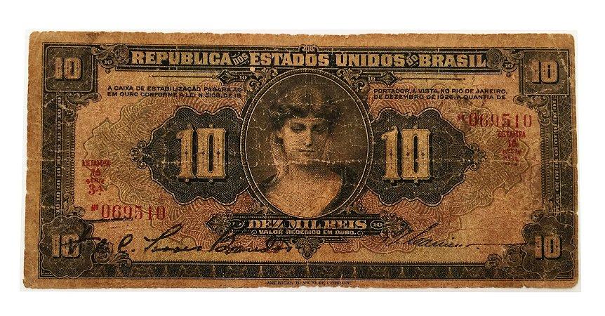 Cédula Antiga do Brasil 10 Mil Réis 1926