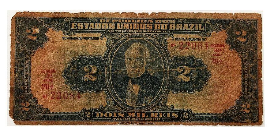 Cédula Antiga do Brasil 2 Mil Réis 1919