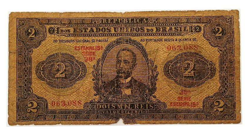 Cédula Antiga do Brasil 2 Mil Réis 1923