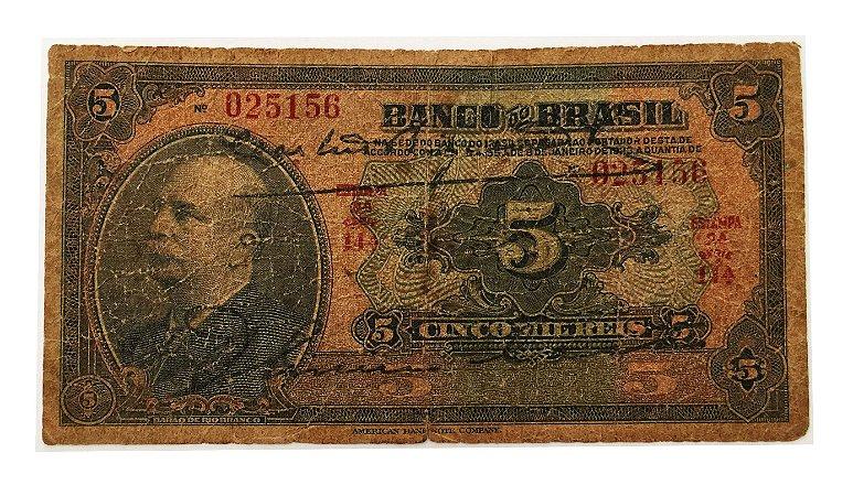 Cédula Antiga do Brasil 5 Mil Réis 1930
