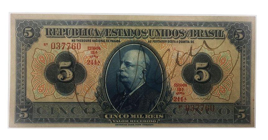 Cédula Antiga do Brasil 5 Mil Réis 1936