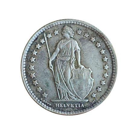 Moeda Antiga da Suíça 1 Franc 1943 B - Helvetia Levantada