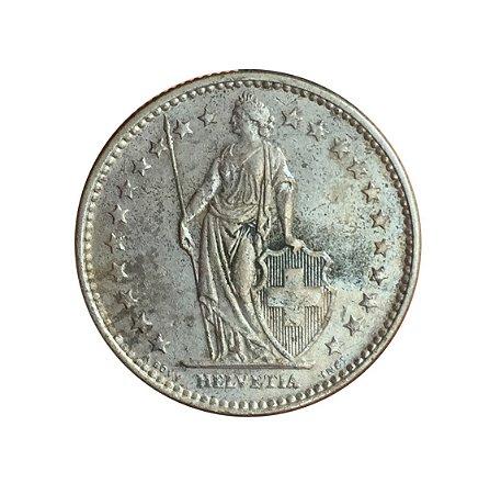 Moeda Antiga da Suíça 2 Francs 1969 B - Helvetia Levantada