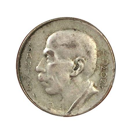 Moeda Antiga do Brasil 5000 Réis 1937 - Santos Dumont - Boné à esquerda