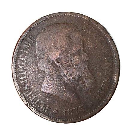 Moeda Antiga do Brasil 40 Réis 1873 - D. Pedro II