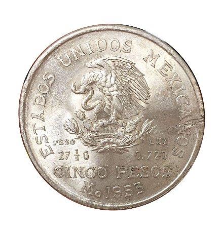 Moeda Antiga do México 5 Pesos 1953