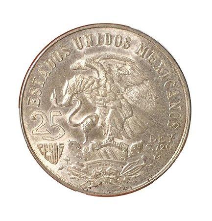 Moeda Antiga do México 25 Pesos 1968 - Jogos Olímpicos