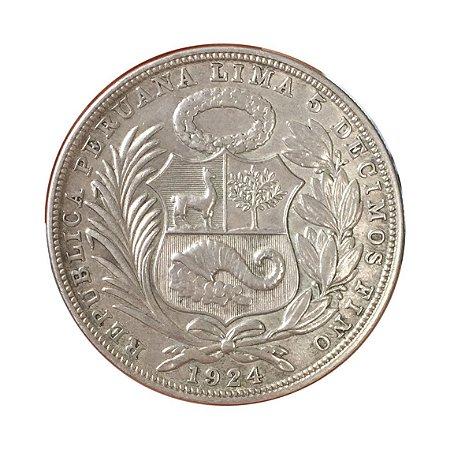 Moeda Antiga do Peru 1 Sol 1924