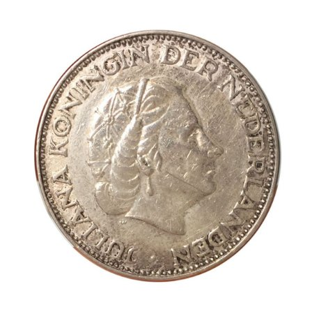 Moeda Antiga da Holanda 2-1/2 Gulden 1959 - Rainha Juliana