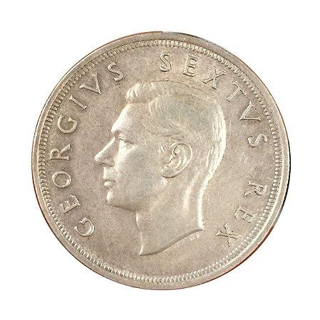 Moeda Antiga da África do Sul 5 Shillings 1952 - Rei George VI - Aniversário da Cidade do Cabo