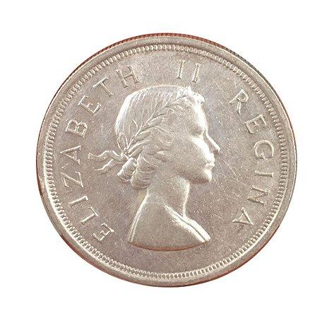 Moeda Antiga da África do Sul 5 Shillings 1953 - Rainha Elizabeth II