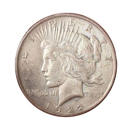 Moeda Antiga dos Estados Unidos 1 Dollar 1922 - Peace Dollar