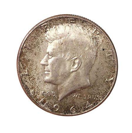 Moeda Antiga dos Estados Unidos Half Dollar 1964 - Kennedy Half Dollar