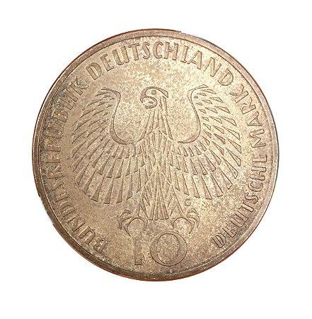 Moeda Antiga da Alemanha 10 Deutsche Mark 1972 G - Jogos Olímpicos de Munique