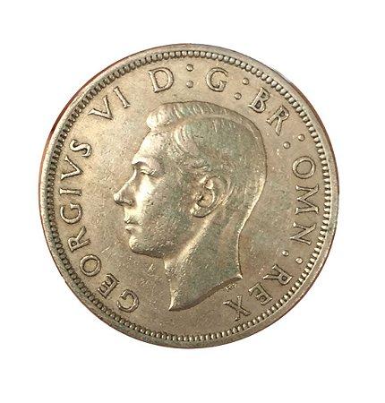 Moeda Antiga da Inglaterra Half Crown 1948 - George VI