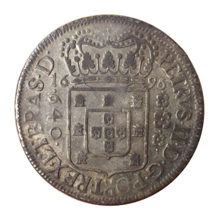 Moeda Antiga do Brasil 640 Réis 1696 - Coroa Estreita